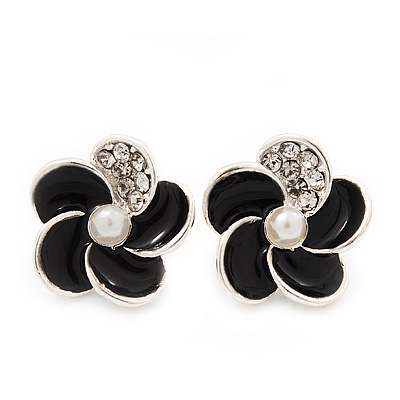 Small Black Enamel Diamante 'Flower' Stud Earrings In Silver Finish - 15mm Diameter