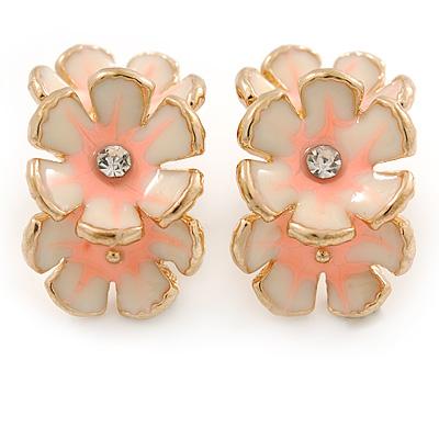 C-Shape Cream/ Pink Enamel 'Floral' Stud Earrings In Gold Tone - 25mm L - main view