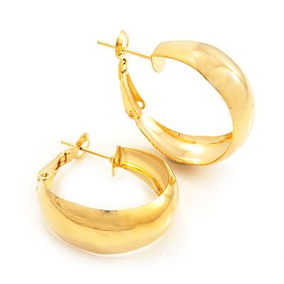 Gold Plated Hoop Earrings - 30mm Diameter