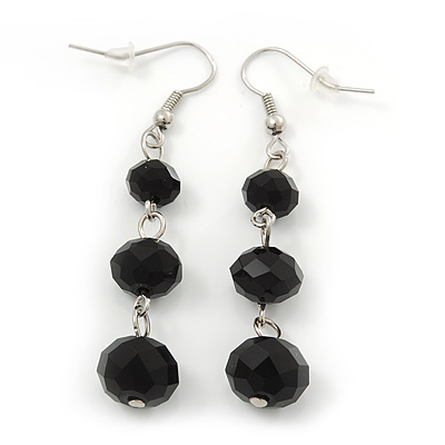 Faceted Black Glass Bead Drop Earring In Silver Plating - 5.5cm Length