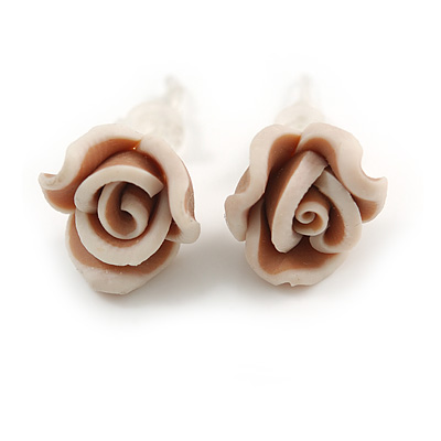 Children's Pretty Light Brown Acrylic 'Rose' Stud Earrings With Acrylic Backings - 9mm Diameter