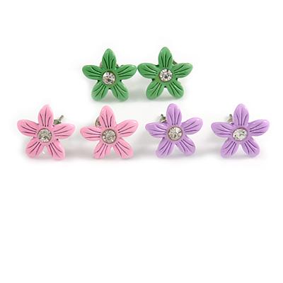 Set of 3 Children's Enamel Daisy Stud Earrings in Light Pink/ Lavender/ Green - 13mm D