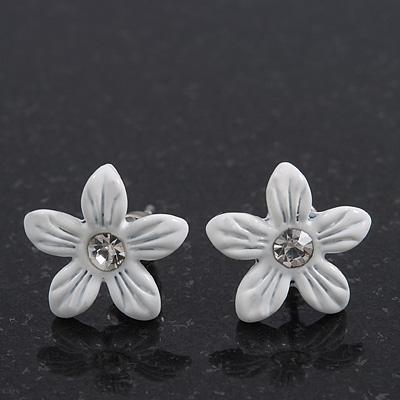 Children's Pretty White Enamel 'Daisy' Stud Earrings - 13mm Diameter