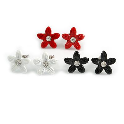 Set of 3 Children's Enamel Daisy Stud Earrings in Red/ Black/ White - 13mm D