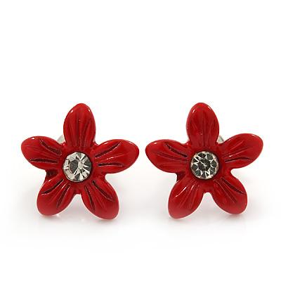 Children's Pretty Red Enamel 'Daisy' Stud Earrings - 13mm Diameter