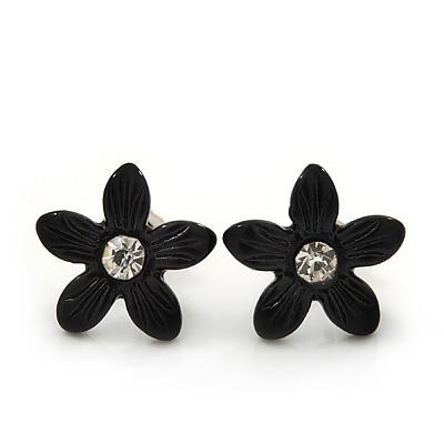 Children's Pretty Black Enamel 'Daisy' Stud Earrings - 13mm Diameter