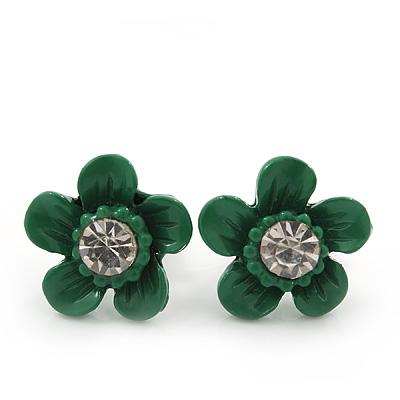 Children's Pretty Green Enamel 'Daisy' Stud Earrings - 12mm Diameter