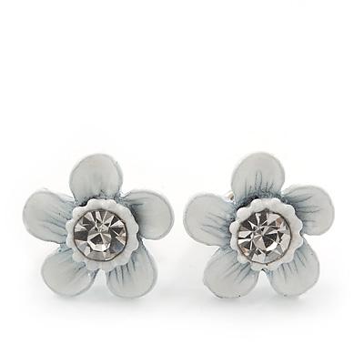 Children's Pretty White Enamel 'Daisy' Stud Earrings - 12mm Diameter