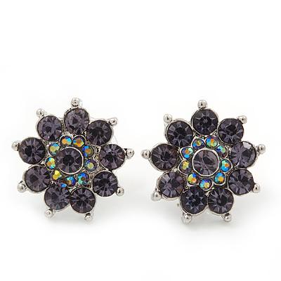 Lavender Diamante Floral Stud Earrings In Silver Plating - 18mm Diameter