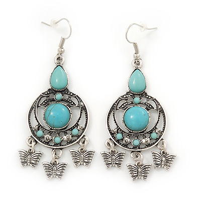 Burn Silver Turquoise Stone Butterfly Drop Earrings - 7cm Length