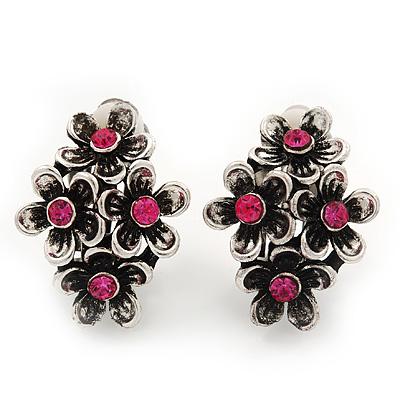 Burn Silver Pink Crystal 'Floral' Clip-On Earrings - 2.5cm Length