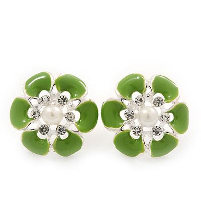 Light Green Enamel Diamante Flower Stud Earrings In Silver Finish - 22mm Diameter