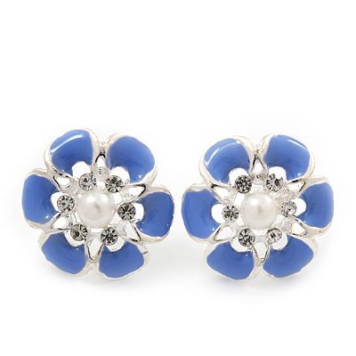 Light Purple Enamel Diamante Flower Stud Earrings In Silver Finish - 22mm Diameter