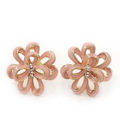 Pale Pink Enamel Dimensional Floral Stud Earrings In Gold Plated Metal - 2.5cm in diameter - main view