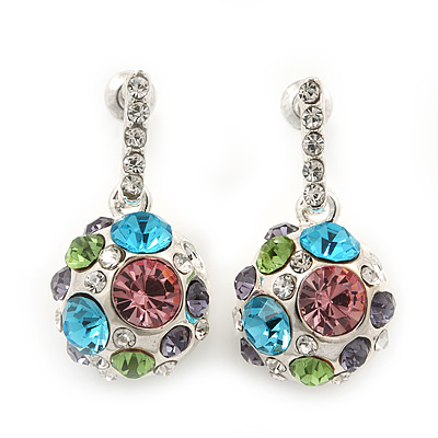 Multicoloured Crystal Ball Drop Earrings In Silver Plating - 3cm Length - main view