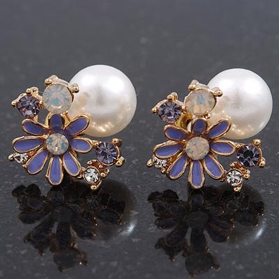 Purple Enamel Simulated Pearl Floral Stud Earrings In Gold Plating - 18mm Diameter