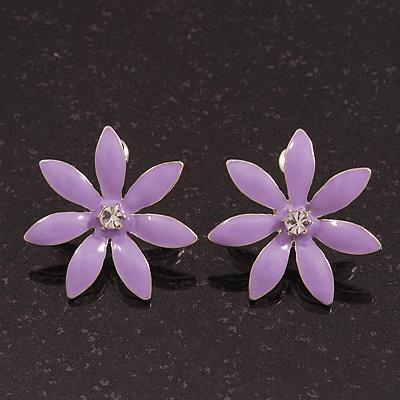 Purple Enamel Flower Stud Earrings In Silver Plating - 25mm Diameter