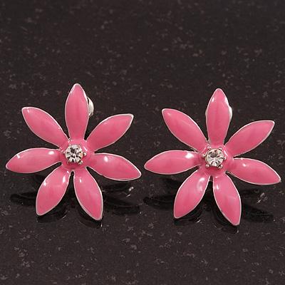 Pink Enamel Flower Stud Earrings In Silver Plating - 25mm Diameter