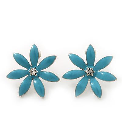 Light Blue Enamel Flower Stud Earrings In Silver Plating - 25mm Diameter