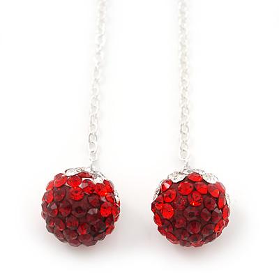 5cm Length 3D Red Diamante /'Rose/' Drop Earrings In Silver Plating