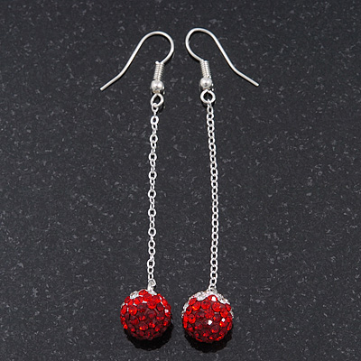 88ecbb01b04f6 Red/Clear Crystal Ball Chain Drop Earrings In Silver Plating - 10mm ...
