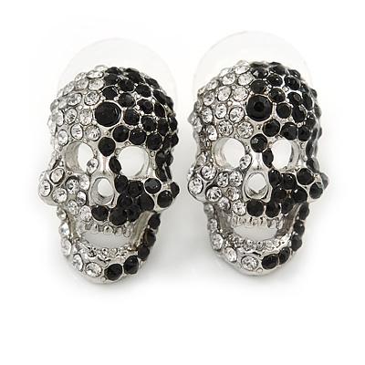 Small Dazzling Black/White Crystal Skull Stud Earrings In Silver Plating - 2cm Length