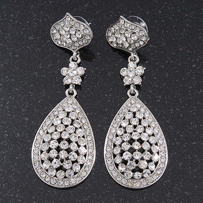 Swarovski Crystal Teardrop Earrings In Silver Plating - 7cm Length - main view