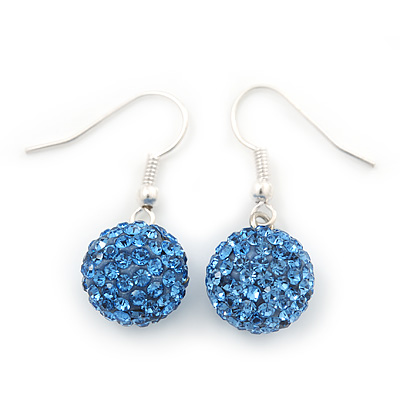 Sky Blue Crystal Ball Drop Earrings In Silver Plated Finish - 12mm Diameter/ 3cm Length