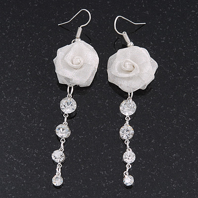 Light Silver Tone Mesh Crystal 'Rose' Drop Earrings - 8cm Length