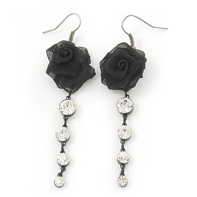 Black Mesh Crystal 'Rose' Drop Earrings - 8cm Length