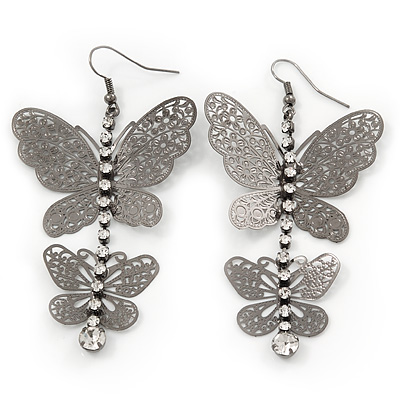 Long Lightweight Filigree Diamante 'Butterfly' Earrings In Gun Metal Finish - 8cm Length