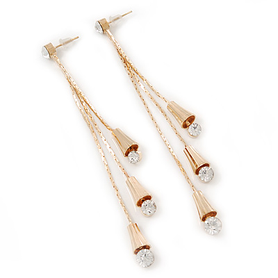 Long Diamante Dangle Earrings In Gold Plating - 11cm Length