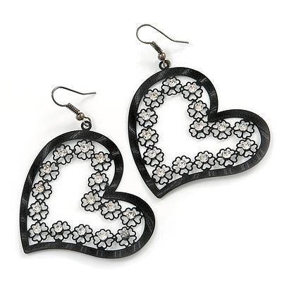 Gun Metal Open-Cut Diamante 'Heart' Drop Earrings - 6cm Length