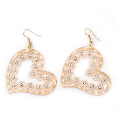 Gold Plated Open-Cut Diamante 'Heart' Drop Earrings - 6cm Length