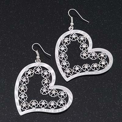 Silver Plated Open-Cut Diamante 'Heart' Drop Earrings - 6cm Length