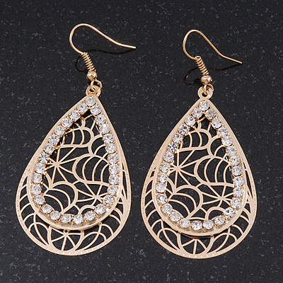 Gold Plated Crystal Filigree Teardrop Earrings - 6.5cm Length - main view