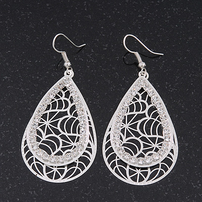 Silver Plated Crystal Filigree Teardrop Earrings - 6.5cm Length