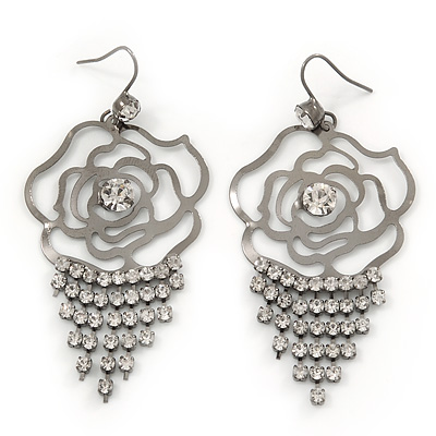 Open Cut Diamante 'Rose' Drop Earrings In Gun Metal Finish - 6.5cm Length