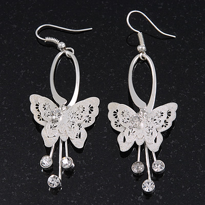 Silver Plated Filigree Diamante 'Butterfly' Drop Earrings - 7cm Length - main view