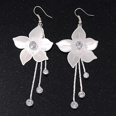 Long Flower With Crystal Dangles Earrings In Silver Plated Metal - 9cm Length