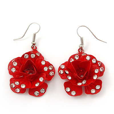 3D Red Diamante 'Rose' Drop Earrings In Silver Plating - 5cm Length