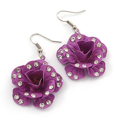 3D Purple Diamante 'Rose' Drop Earrings In Silver Plating - 5cm Length