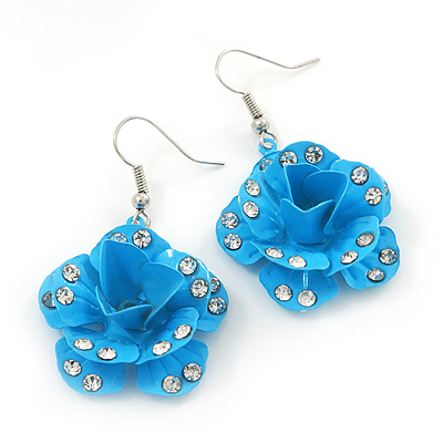3D Light Blue Diamante 'Rose' Drop Earrings In Silver Plating - 5cm Length