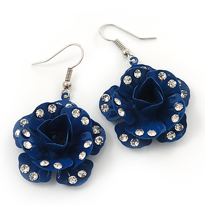 3D Dark Blue Diamante 'Rose' Drop Earrings In Silver Plating - 5cm Length