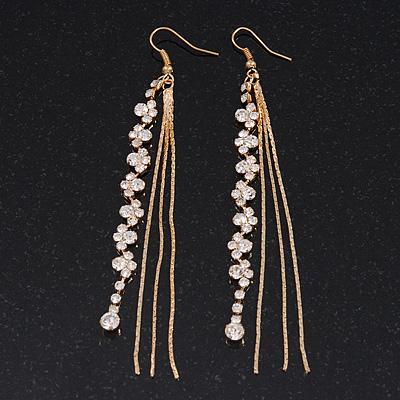 Long Gold Plated Clear Diamante 'Tassel' Drop Earrings - 11cm Length
