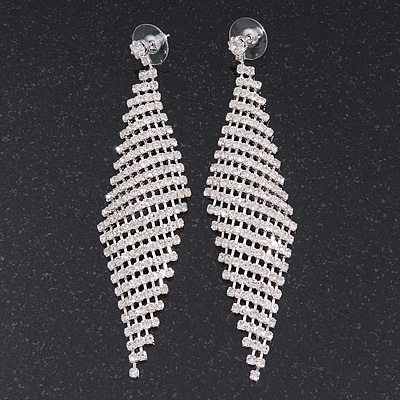 Long Top Grade Austrian Crystal Mesh Earrings In Silver Plating - 8cm L