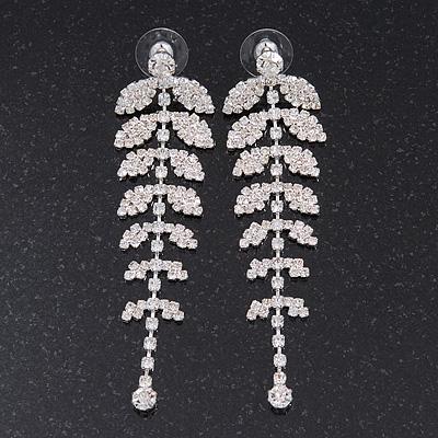 Long Crystal 'Leaf' Earrings In Silver Plating - 8.5cm Length
