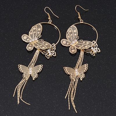 Long Delicate Filigree Butterfly Drop Earrings In Gold Plating - 13cm Length