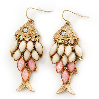 Vintage Gold Plated Acrylic Bead 'Fish' Drop Earrings - 6cm Length - main view