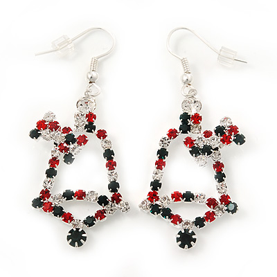 Green/Red/White Christmas Crystal Jingle Bell Drop Earrings In Silver Plating - 5.5cm Length - main view